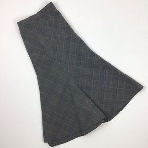 Lane Bryant Gray Plaid Midi Skirt Size 14
